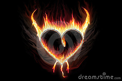 Burning love heart