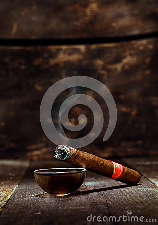 Burning luxury Cuban cigar