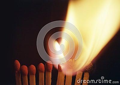 Burning  match, chain reaction