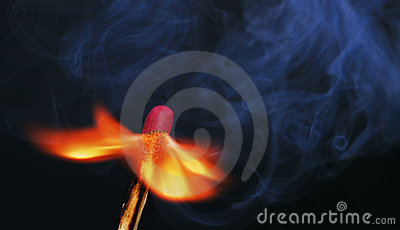 Burning match flame