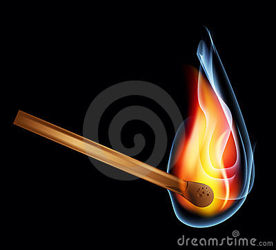 Burning matchstick