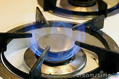 Burning natural gas in a domestic hob burner.