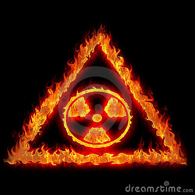 Burning nuclear danger sign