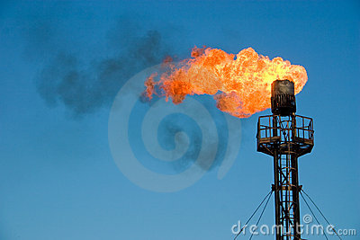 Burning oil flare