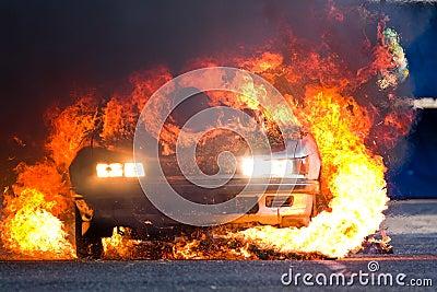 Burning old car