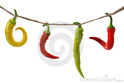 Burning pepper chili on rope