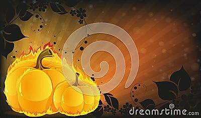 Burning pumpkins on radiant background