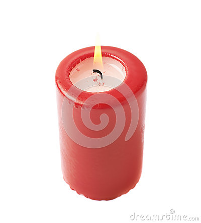 Free Burning Red Candle Isolated Royalty Free Stock Photography - 65920617