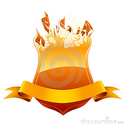 Burning shield emblem