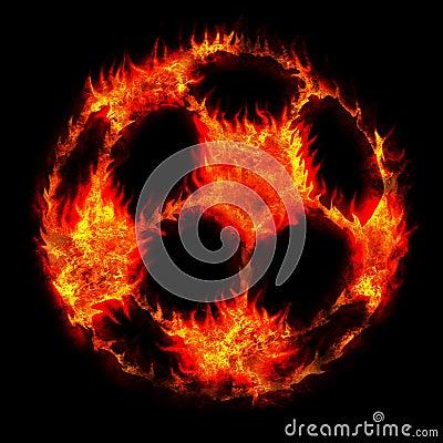 Burning soccer football ball