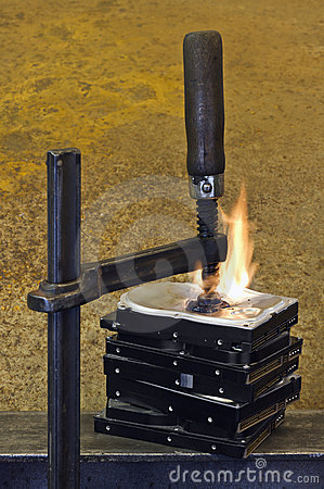 Burning stack of hard drive pressed together