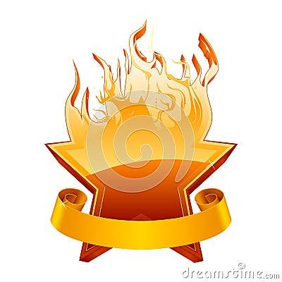 Burning star emblem