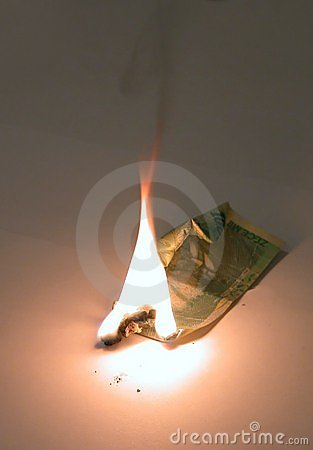 Burning a ten thousand bill