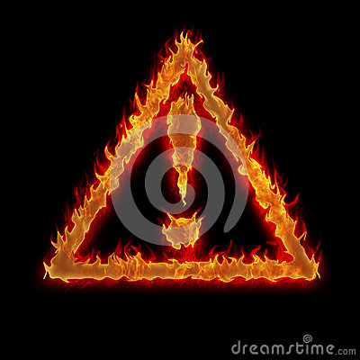 Burning triangle caution sign