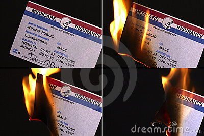 Burning U.S. Medicare Insurance Card