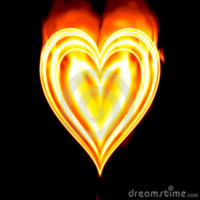 burning valentine Heart fire