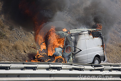 Burning van