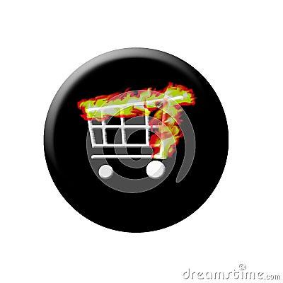 Burning web shop button