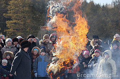 Burning Winter effigy at Shrovetide Editorial Stock Photo