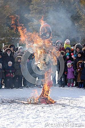 Burning Winter effigy at Shrovetide Editorial Photography