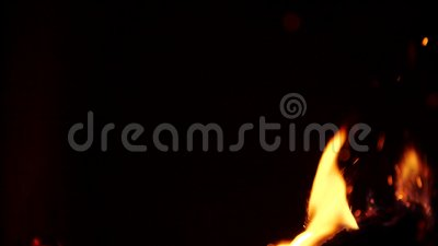 Burning wood. Burning fire in a home fireplace. Slow motion. Fire flames in campfire at night. Slow motion of burning. Burning wood. Burning fire in a home stock video