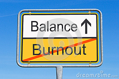 Burnout and balance sign