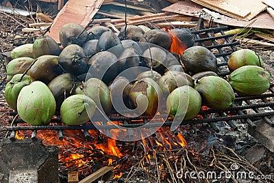 Burnt coconuts