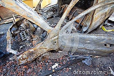 Burnt down car