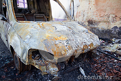 Burnt down car