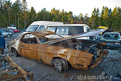 Burnt out and rusty car