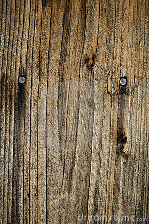 Burnt wood with nails
