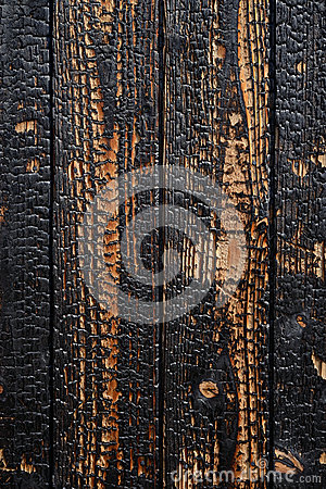 Burnt wooden planks