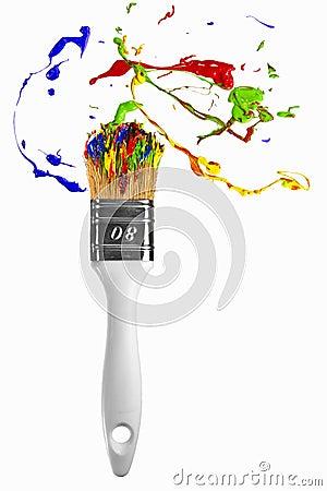 Burst of paint orbit around the paintbrush