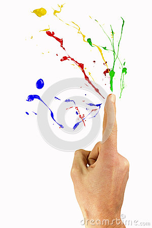 Burst of paint out of a forefinger