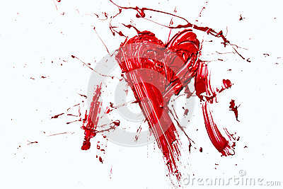 Bursting red color painted heart