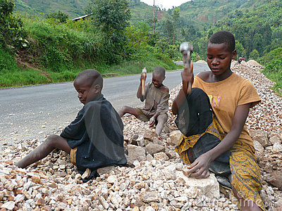 Burundi Children Break Rocks Editorial Photography