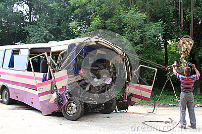 Bus accident Editorial Photography