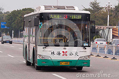 Bus in city, Zhuhai China Editorial Stock Image