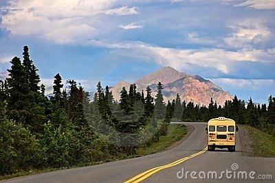 Bus in Denali with Mountain