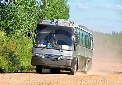 Bus on a dusty road