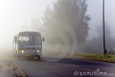 The bus in a fog