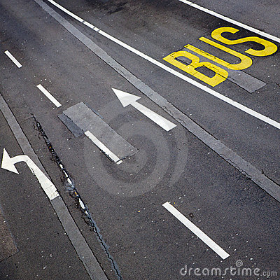 Bus lane and road markings