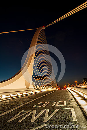 Bus Lane on Samuel Beckett Bridge Dublin Editorial Photography