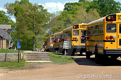 Bus line up for afterschool Delivery