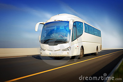 Bus in motion on the highway