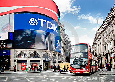 Bus on Picadilly Circus in London Editorial Stock Photo