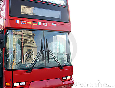 Bus with reflection of arc triumph, Paris, France