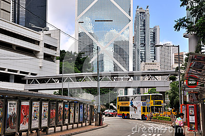 Bus station in downtown of Hongkong Editorial Stock Image