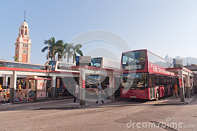 Bus station in Hong Kong Editorial Photography