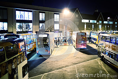Bus station at night Editorial Photography